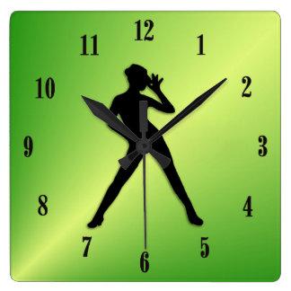 Relógio Quadrado Verde da dança moderna