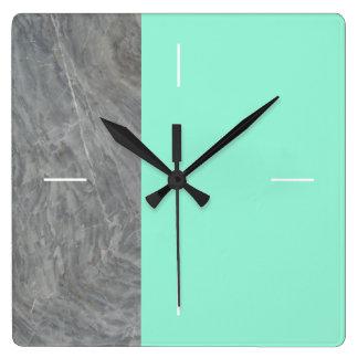 Relógio Quadrado Verde de mar de mármore do DUETO   ou alguma cor