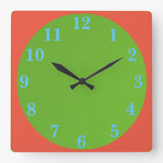 Relógio Quadrado verde e laranja dos anos 50