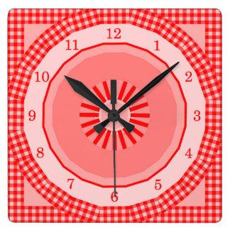 Relógio Quadrado Verificações vermelhas do guingão do país