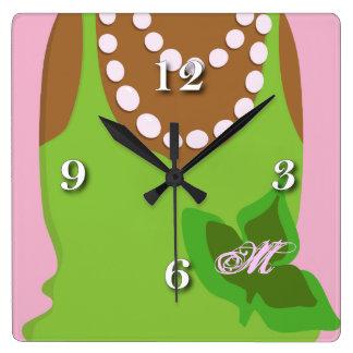 Relógio Quadrado Vida do círculo estudantil feminino