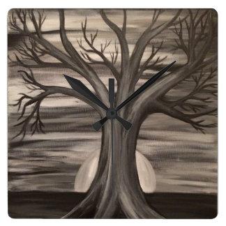 Relógio Quadrado Vida no pulso de disparo de parede da árvore da