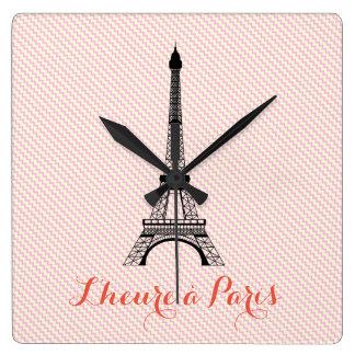 Relógio Quadrado Viga branca cor-de-rosa de Paris da torre Eiffel