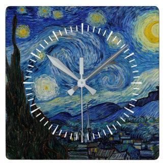 Relógio Quadrado Vincent van Gogh - a obra-prima da noite estrelado