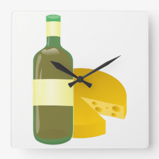 Relógio Quadrado Vinho e queijo