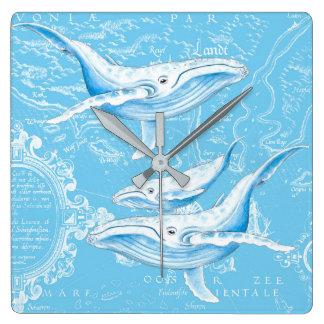 Relógio Quadrado Vintage da família das baleias azuis