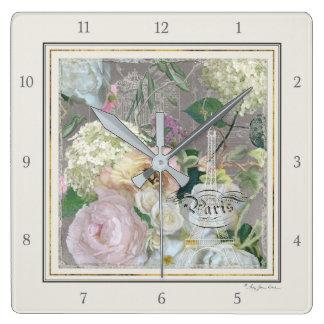 Relógio Quadrado Vintage floral do mercado francês da torre Eiffel