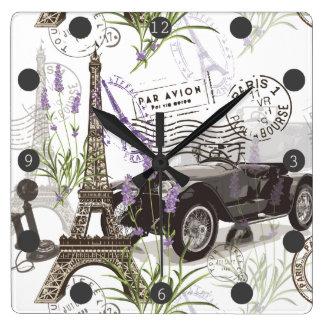Relógio Quadrado Vintage Paris