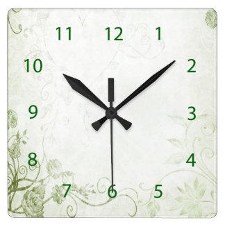 Relógio Quadrado Vintage verde elegante