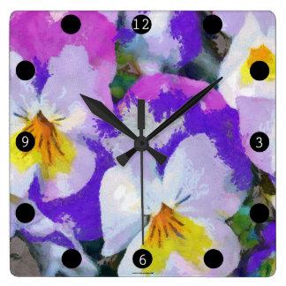 Relógio Quadrado Violeta e amarelo de amor perfeito