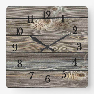 Relógio Quadrado Vista autêntica de madeira