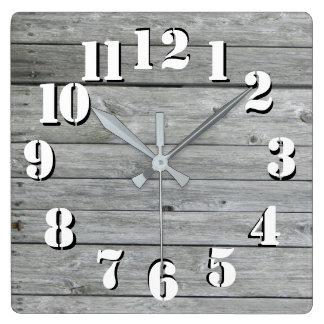 Relógio Quadrado Vista autêntica rústica bonita de madeira