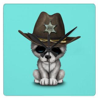 Relógio Quadrado Xerife bonito do lobo do bebê