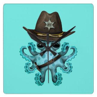 Relógio Quadrado Xerife bonito do polvo do bebê azul