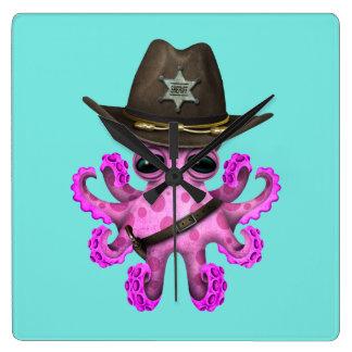Relógio Quadrado Xerife cor-de-rosa bonito do polvo do bebê