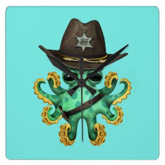 Relógio Quadrado Xerife verde bonito do polvo do bebê