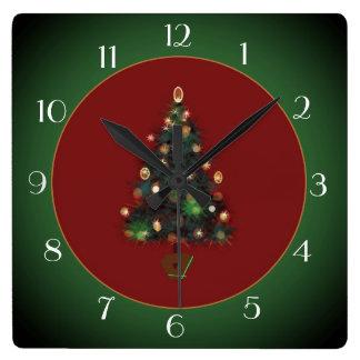 Relógio Quadrado XmasTree decorativo /Green vermelho > pulso de