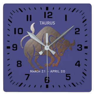 Relógio Quadrado Zodíaco do TAURUS