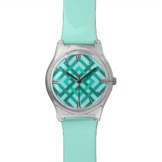 Relógio Quadrados, Aqua e turquesa geométricos modernos