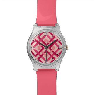 Relógio Quadrados geométricos modernos, vermelho