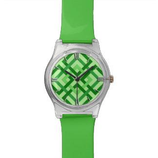Relogio Quadrados, verde da hortelã e esmeralda
