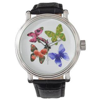Relógio Quatro borboletas da flor,