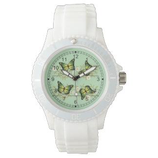 Relógio Quatro borboletas verdes