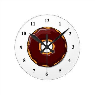 Relógio Redondo 1 design da rosquinha do chocolate dos desenhos