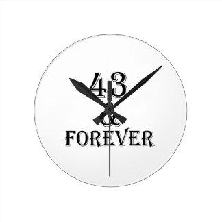 Relógio Redondo 43 e para sempre design do aniversário