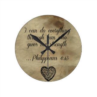 Relógio Redondo 4:13 dos Philippians do verso da bíblia