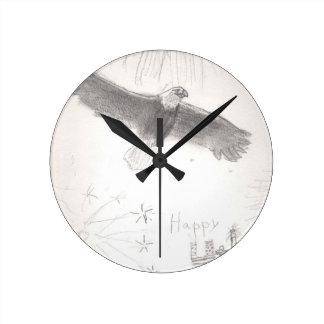 Relógio Redondo 4' th da águia americana dos fogos-de-artifício de