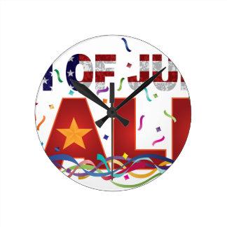 Relógio Redondo 4o do texto da venda de julho com confetes da