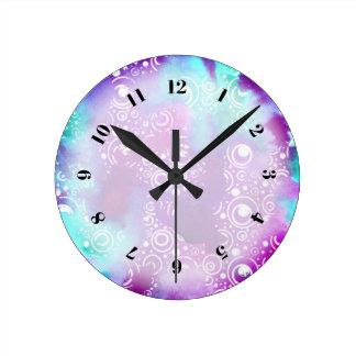 Relógio Redondo A aguarela borbulha roxo/turquesa
