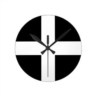 Relógio Redondo A bandeira de Piran Cornish do santo - bandeira de