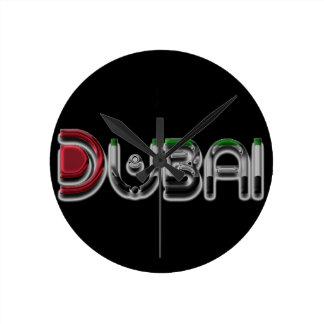 Relógio Redondo A bandeira dos UAE da cidade de Dubai colore a