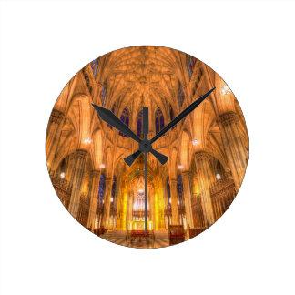 Relógio Redondo A catedral Manhattan New York de St Patrick