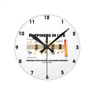 Relógio Redondo A felicidade na vida depende em cima do equilíbrio
