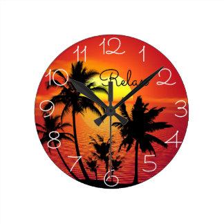 Relógio Redondo A foto da ilha com relaxa dizendo o pulso de
