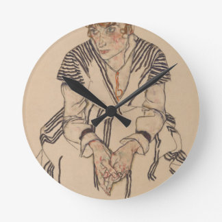 Relógio Redondo A irmã do artista de Egon Schiele- na lei