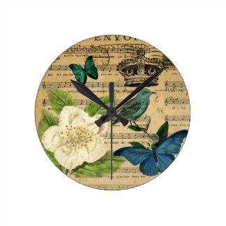 Relógio Redondo a música do pássaro da coroa do vintage nota o