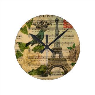 Relógio Redondo a música nota a torre Eiffel de Paris do francês