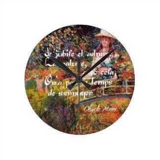Relógio Redondo A natureza no art. de Monet