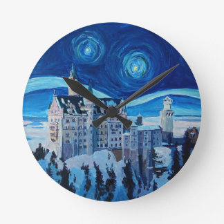 Relógio Redondo A noite estrelado com castelo romântico Van Gogh