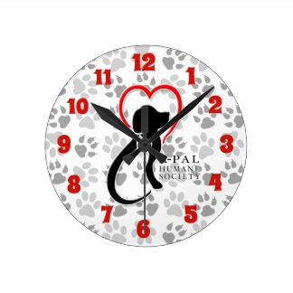 Relógio Redondo A-PAL - Logotipo com impressões da pata
