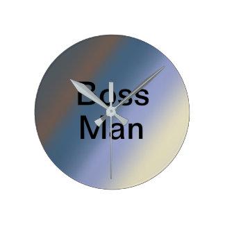 Relógio Redondo A prata do homem do CHEFE/azul de aço mistura o