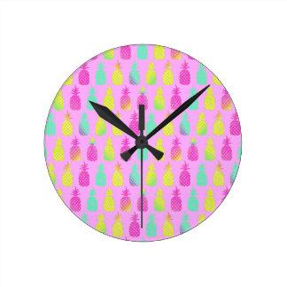 Relógio Redondo Abacaxis Pastel