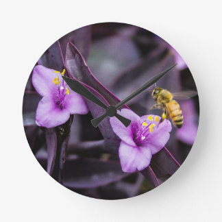 Relógio Redondo Abelha na flor