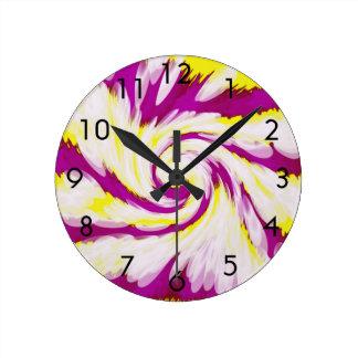 Relógio Redondo Abstrato branco amarelo cor-de-rosa Groovy do