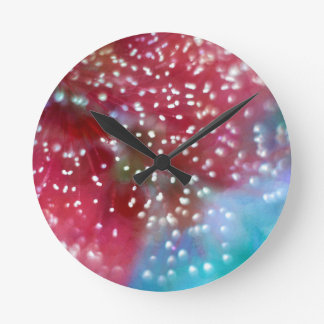 Relógio Redondo Abstrato da flor do Bottlebrush