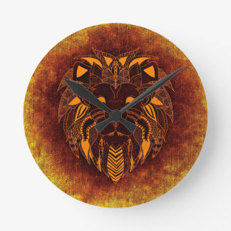 Relógio Redondo Abstrato do animal selvagem do leão